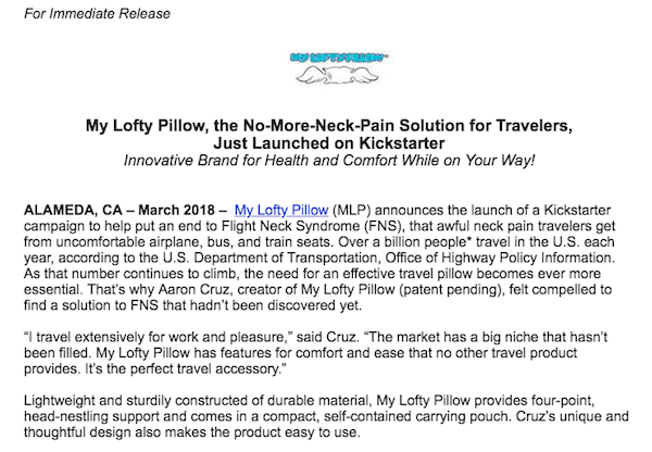 how to write a kickstarter press release  examples